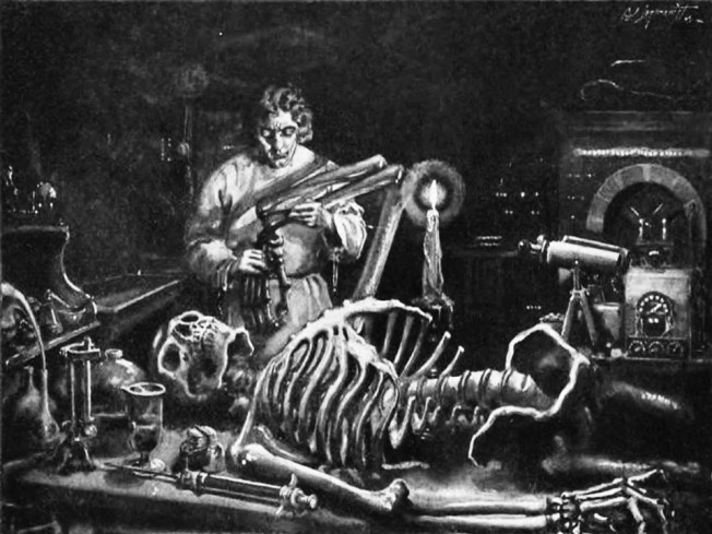 Frankenstein at work in his laboratory